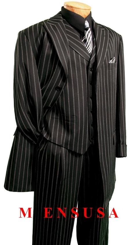SKU# WKB717 43FC-2 Black Single Breasted, 4 hidden buttons with cuff, back pleat, side vent with vest & wide leg