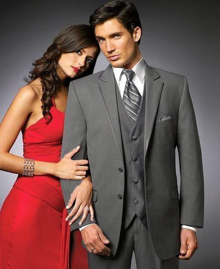 SKU#WEG9 2 Btn Suit/Stage Party Tuxedo Satin Trim outlines a Notch Lapel Matching Trousers Charcoal