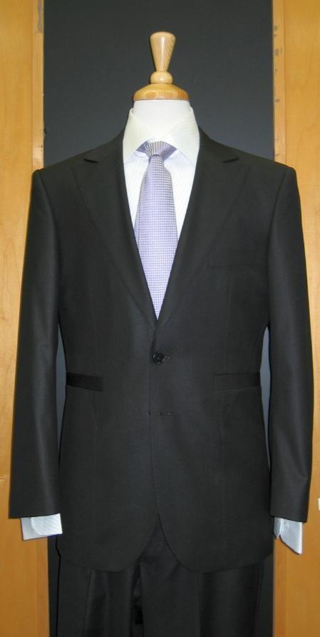 SKU#HD944 2 Button Black Silk Blend Custom Flat Front Center Vented Suit