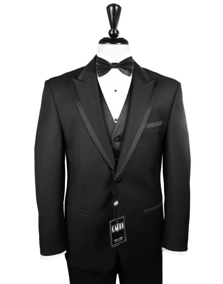 Mens' Modern One Button Satin Trim Peak Lapel Tuxedo