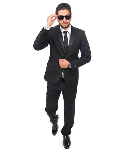 2 Button Slim Fit Satin Collar Black  Double Vented Designer Cheap Priced Men's Slim Fitted Suit - Skinny Fit Suit