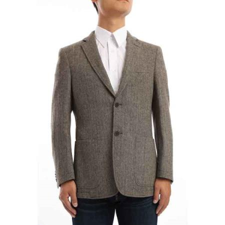 Button Mens Brown and