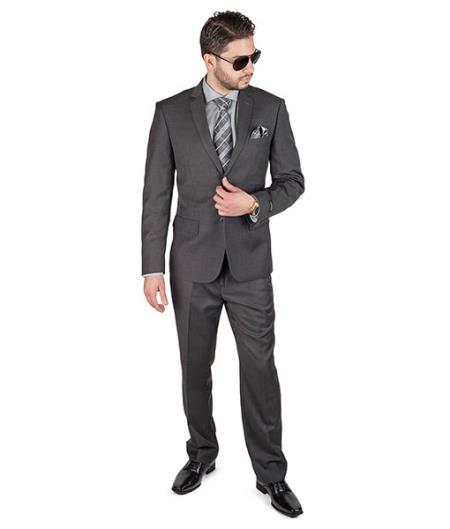 Slim Fit 2 Button Notch Lapel Double Vented Men Charcoal Grey Suit