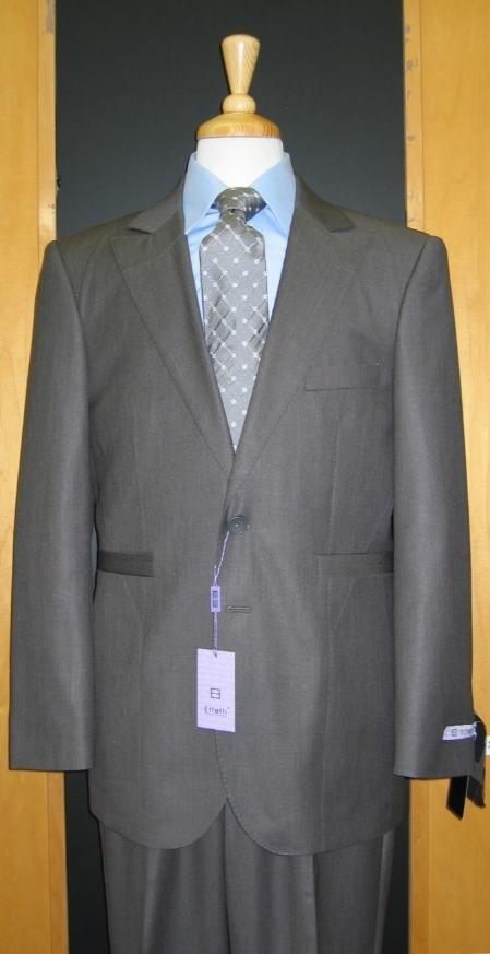 SKU#KZ600 2 Button Grey Silk Blend Custom Flat Front Center Vented Suit