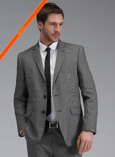 SKU#JZ8922 Men's Grey Slim Fit Suit in 2-Button