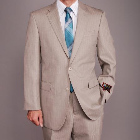 SKU#YG5698 Mens Sand Herringbone Tweed 2-button Khaki Suit
