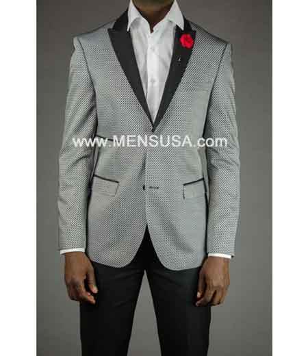 Button Mens Gray Tuxedo