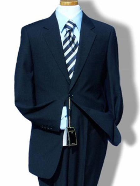 SKU#HX7122 R&H 2 Button Navy Blue Side Vents Jacket With Flat Front Pants Super 150 Wool Suit Sepera
