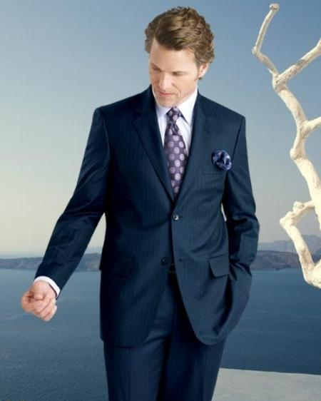 2 Btn Stripe ~ Pinstripe, Flat Front Pants, Side Vents, Pick Stitch, Super 150s Suit Dark Navy Blue  Suit For Men