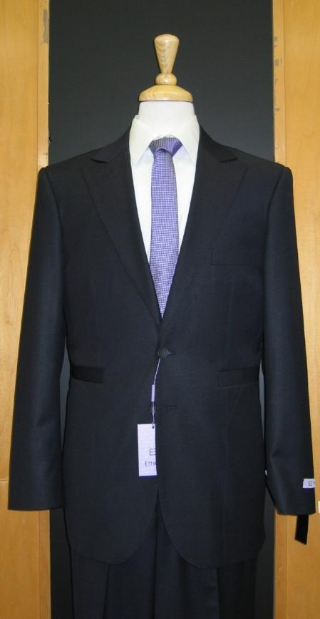 SKU#GF574 2 Button Navy Silk Blend Custom Flat Front Center Vented Suit