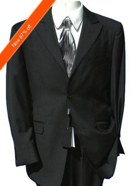 SKU#JB7922 2-Button Peak Lapel Jet Black Suit (Also in Navy) Flat Front