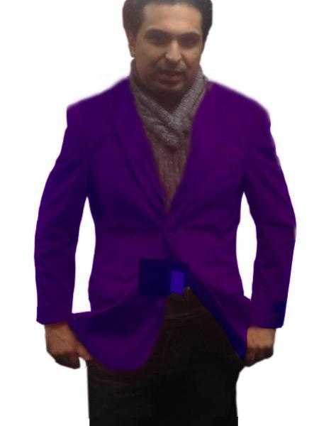 SKU#PUR0111 Single-Breasted Fully Lined Mens 2 Btn Notch Collar Velvet Purple Velour Blazer