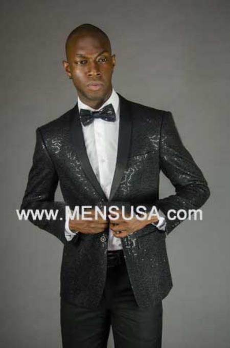 2 Button Sequin Shawl Lapel Slim Fit Jacket Black