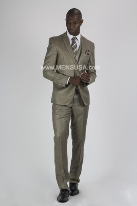2 Button Slim Fit Suit Notch Lapel Beige