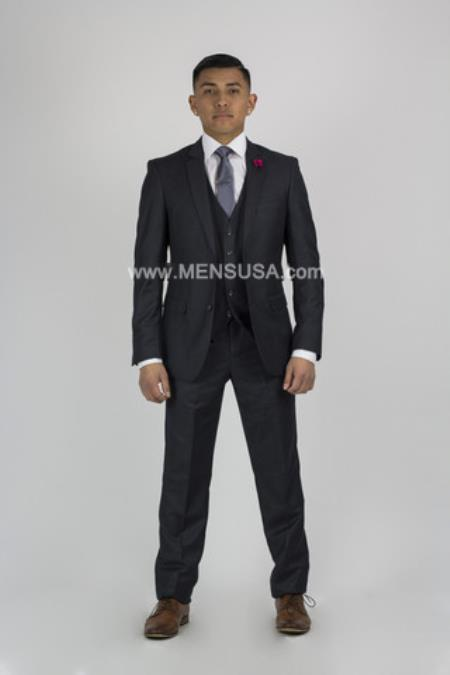 Button Notch Lapel Suit