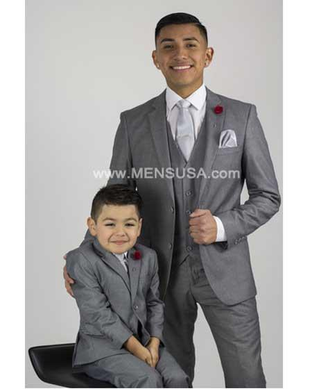 2 Button Slim Fit Vent Sharkskin Textured Pattern Tapered Fit Suit Light Grey Online Discount Fashion Sale