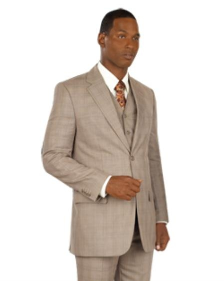 SKUMU1882 2 Button Vested Taupe or Brown Windowpane Glen Plaid Flat Front Pants Vented
