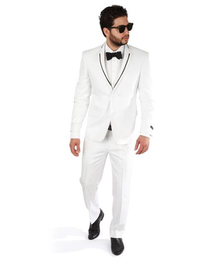 2 Button Trim Collar White Slim Fit Men Suit / Tuxedo With Single Vent Online Discount Fashion Sale