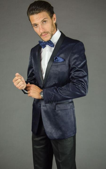Mens 2 Button Navy Blue Velvet Slim Fit Tuxedo Jacket / Blazer Mens / Tux / Dinner Jacket Looking