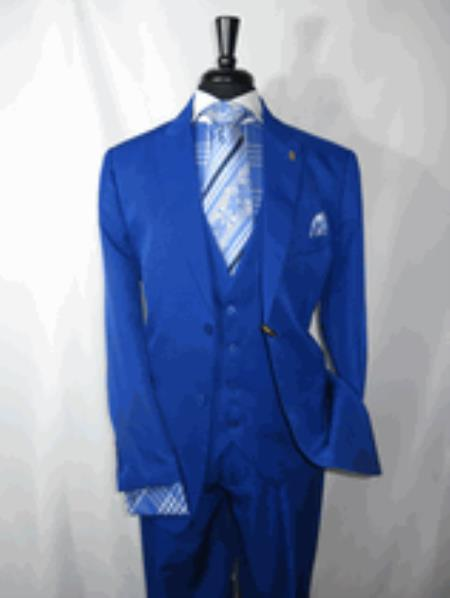 Royal Blue Vested Mens Suit 2 Button  Peaked Lapel Suit