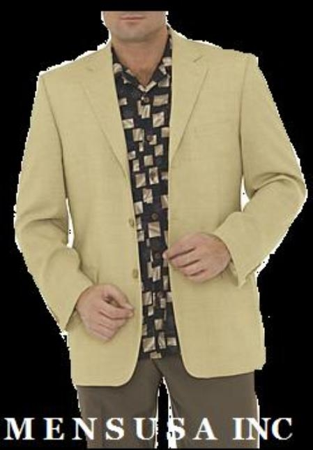 SKU# KBC428 710-2 (Cream) Yellow-Tan 2 Button 100% Silk Light Weight Sport Coats (Blazer) $165