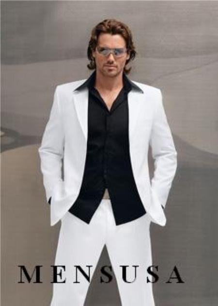 SKU#MUF 3 Buttons White Suit With Flat Front No Pleat Pants 100% light Weight Wool