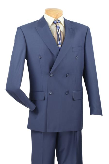 Mens 2 Piece Cobalt ~ Indigo~Teal ~Indigo ~ Bright Blue (Slate) Suit - Double Breasted