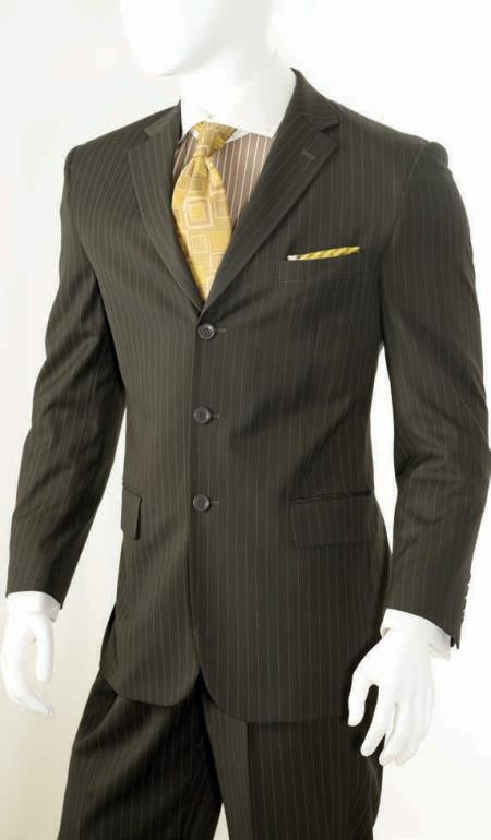 Men's 2 Piece Classic Suit - Pinstripe Brown
