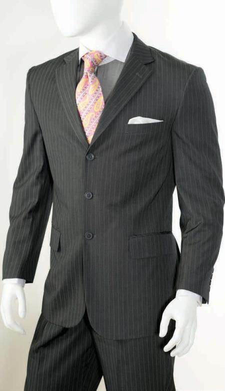 Mens 2 Piece Classic Suit - Pinstripe Grey