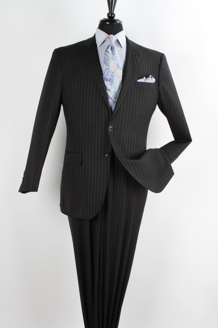 Mens 2 Piece Wool Executive Suit - Peak Lapel Black with Chalk Stripe ~ Pinstripe
