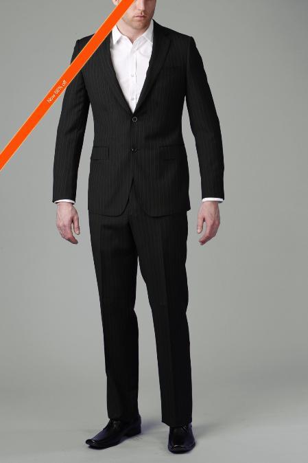 SKU#WE6566 2-Button Black Multi Stripe ~ Pinstripe Slim Cut Suit