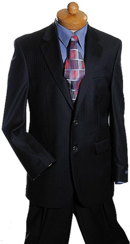 SKU#VH2378 2 Button Black Tone On Tone Designer Suit Black $175