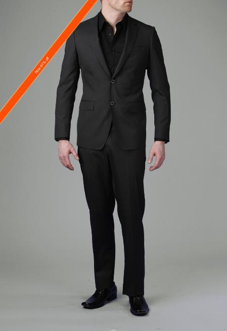 SKU#GM5454 2-Button Liquid Black Modern Slim Suit $339