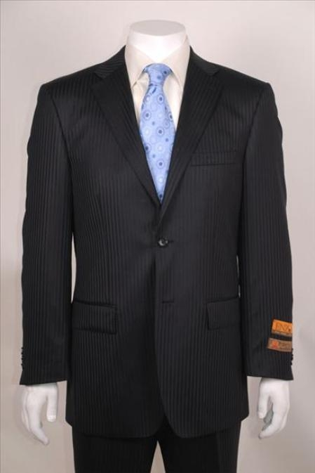 SKU#NP8127 2 Button Vented Black Shadow-Stripe Suit Non-Pleated Pants $189