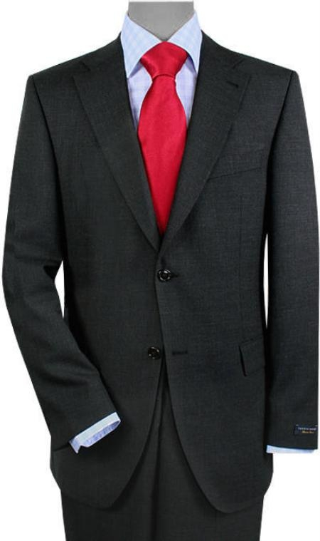 SKU#QB1997 2 Buttons Vented Gray Sharkskin No Pleats Suit $175