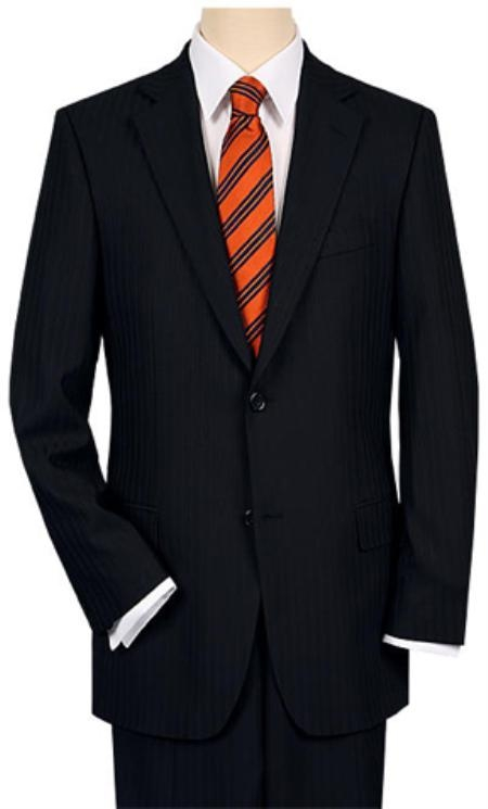 SKU#AZ7722 2 or 3 Button Vented without pleat flat front Black Shadow Stripe ~ Pinstripe Suit