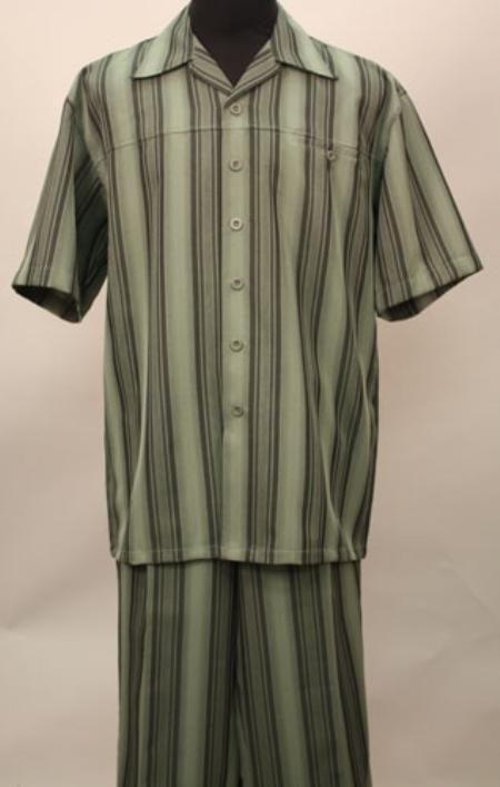 SKU#NN2990 2 Pc Shirt and Pants Set - Olive $99
