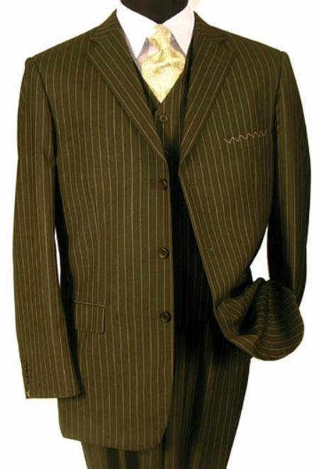 SKU# FTY-209 Mens 3 Piece 3 Buttons Vested Olive Green Pinstripe Super 120s Wool $175