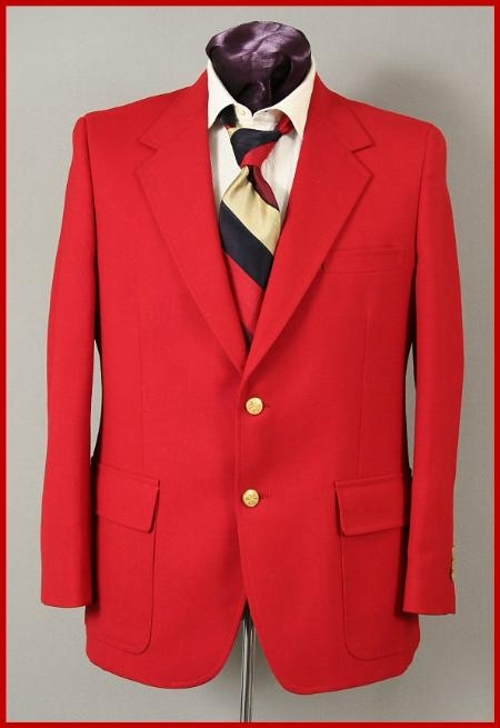 SKU#1821 Regular $399 Harwick Made in USA Mens Hot Red 2 Button Blazer Sportcoats $225