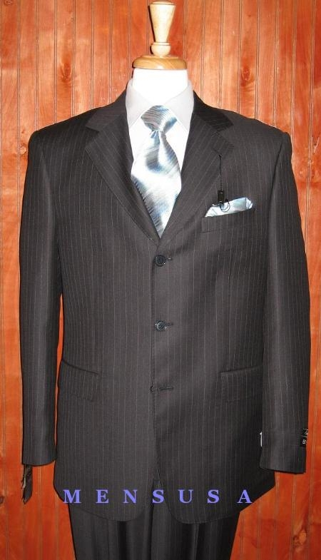 S80015 2/3 Buttons Dark Navy Blue &With ~Blue Pinstripe~ Ultimate Wool & Tayloring Super 140 Wool $275