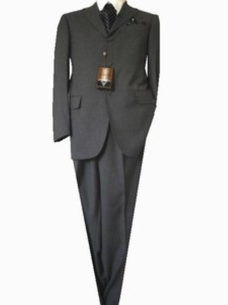 SKU#GU 2356 Fitted Tailored Slim Cut 2 Button Dark Taupe Teakweave Men