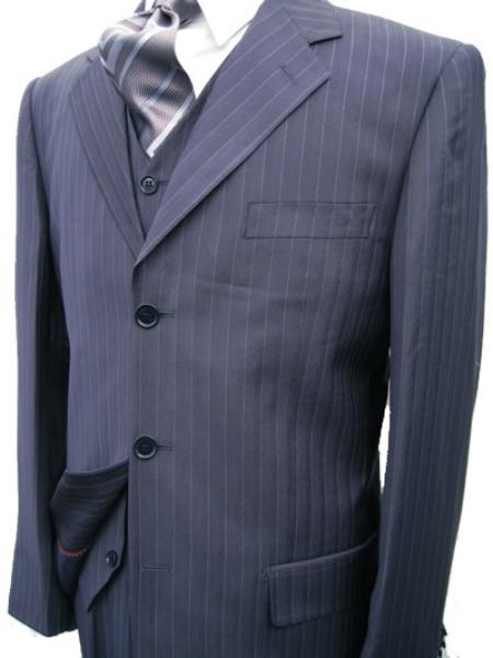 SKU#MU28 Navy Blue Stripe 3 Piece three piece suit 3 Button Jacket Side Vents Vest Pleated Pant $225
