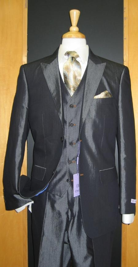 SKU#HS767 2 Button 3 Piece Peak Lapel Shiny Blue Denim Contrast Flat Front Suit $239