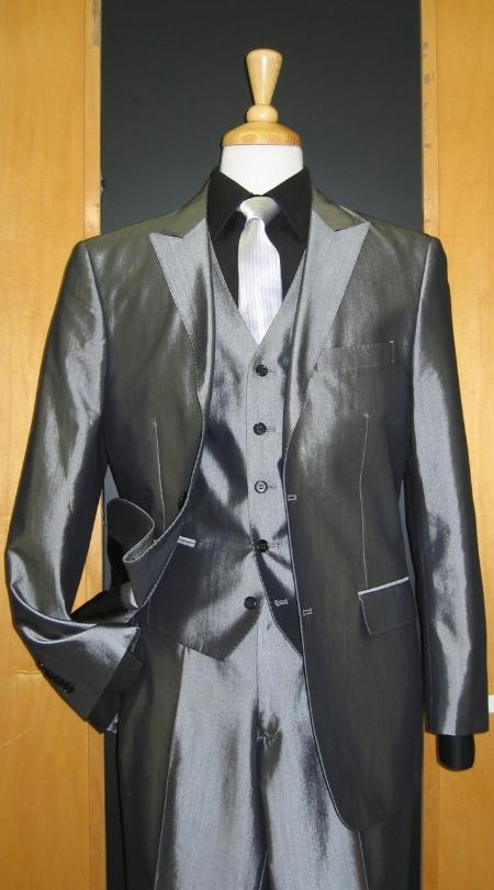 SKU#JS238 2 Button 3 Piece Peak Lapel Shiny Silver Grey Denim Flat Front Suit $219