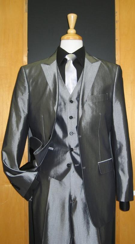 SKU#JS238 2 Button 3 Piece Peak Lapel Shiny Silver Grey Sharkskin Sateen Flat Front Suit