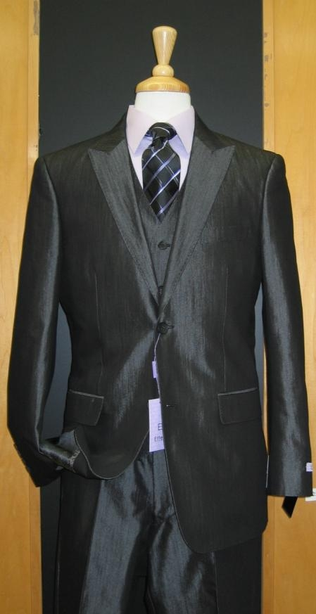 SKU#KJ873 2 Button 3 Piece Peak Lapel Shiny Black Sharkskin Sateen Flat Front Suit