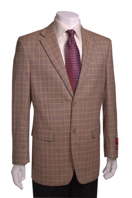 SKU#JY834 2-Button Black/Gold Wool Plaid Blazer $149