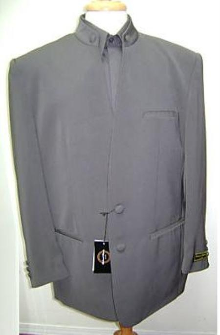 SKU#21GAHT 2 Button Charcoal Gray Mandarin Banded Collar Dress Suit $149