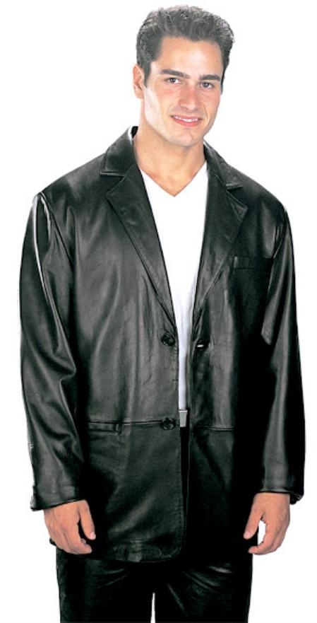 SKU#MN505 2 Button Classic Mens Top Grade New Zealand Lambskin Blazer Black $199