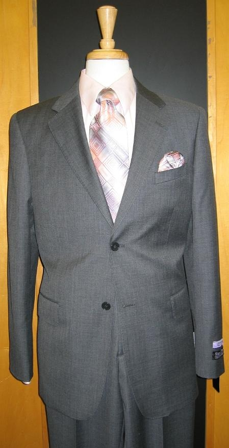 SKU#IF643 2 Button Grey Pinstripe Flat Front Wool Suit $199